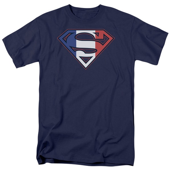 Superman/French Shield Short Sleeve Adult T-Shirt 18/1 in Navy