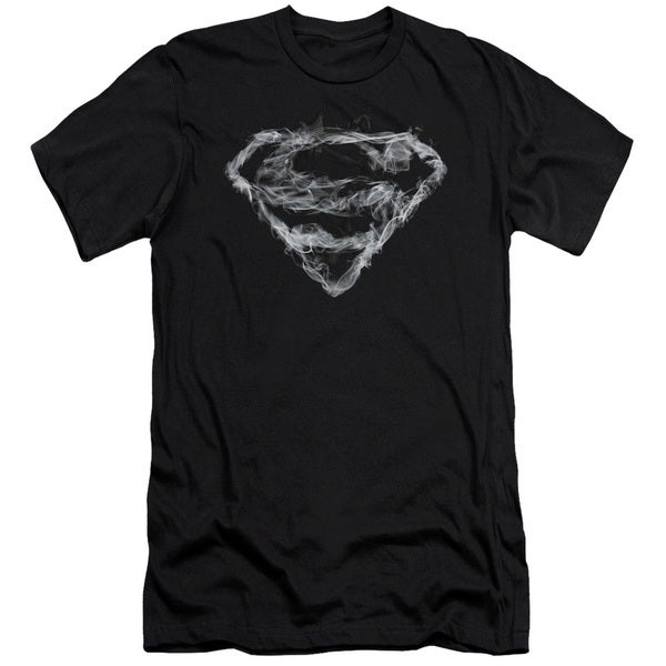 Superman/Smoking Shield Short Sleeve Adult T-Shirt 30/1 in Black