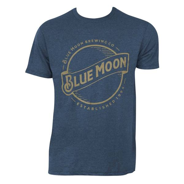 Blue Moon Gold Logo Blue Cotton/Polyester T-shirt