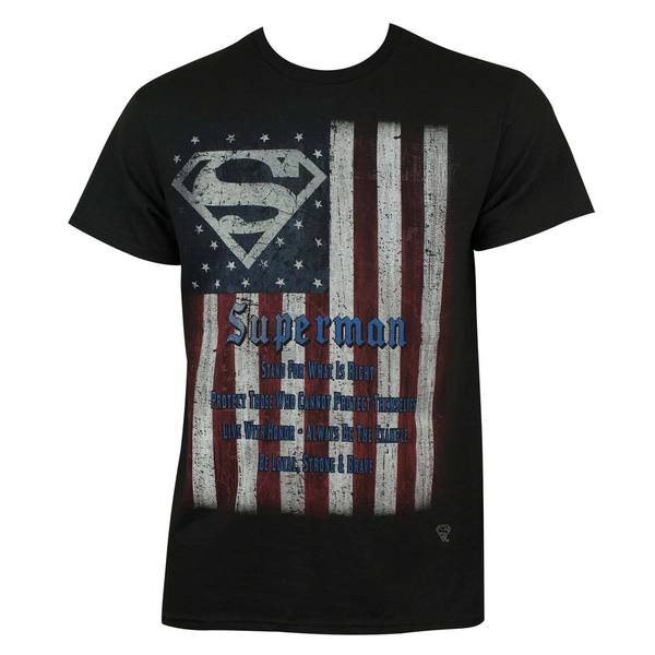 Black Cotton Superman Flag T-shirt