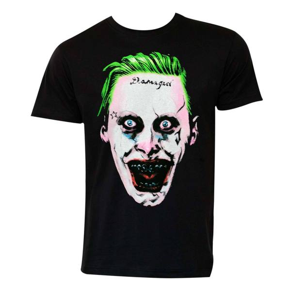 Suicide Squad Black Cotton Joker Face T-shirt