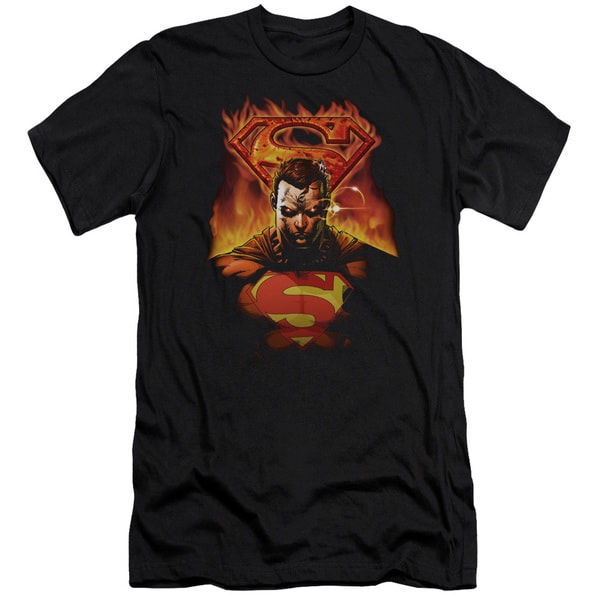 Superman/Man On Fire Short Sleeve Adult T-Shirt 30/1 in Black