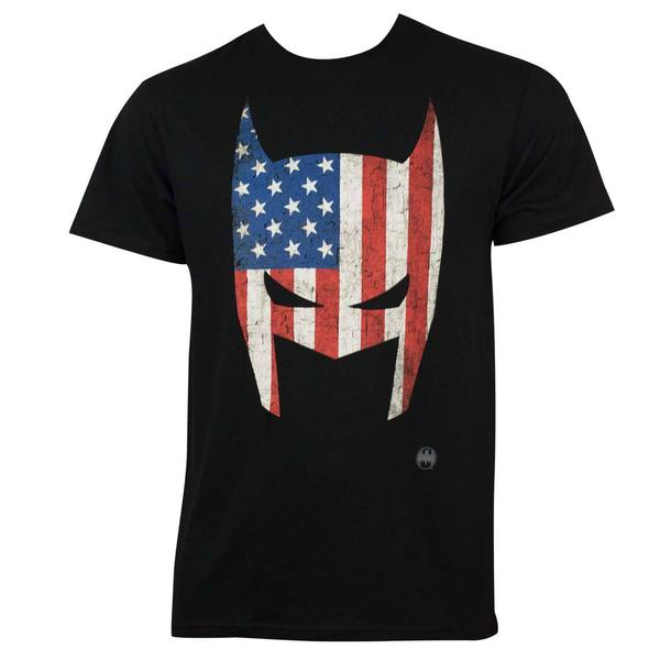 Black Cotton Batman American Flag Mask T-shirt
