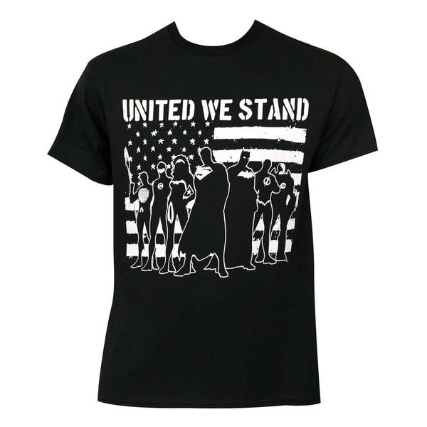 Justice League 'United We Stand' Black Cotton T-shirt