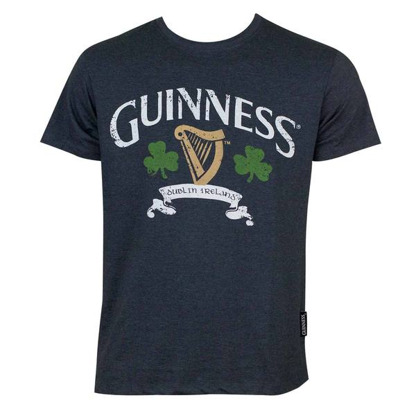 Guinness Distressed Harp and Clover Blue Cotton/Polyester T-shirt
