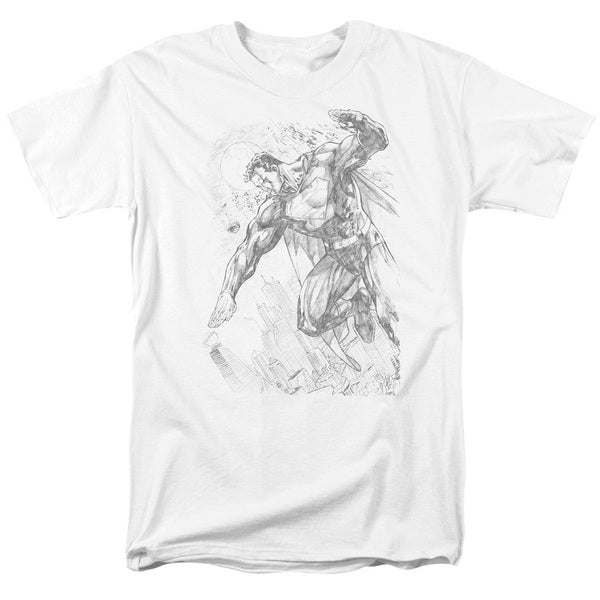 Superman/Pencil City To Space Short Sleeve Adult T-Shirt 18/1 in White