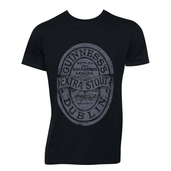 Guinness Distressed Black Cotton Label T-shirt