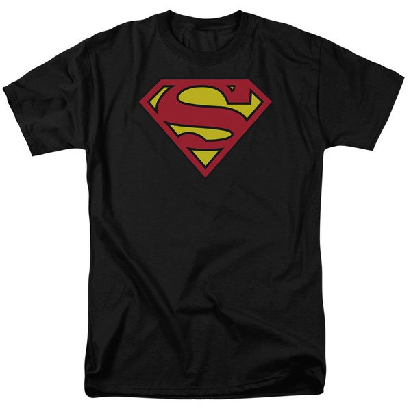 Men's Superman Classic Logo Black Cotton T-shirt