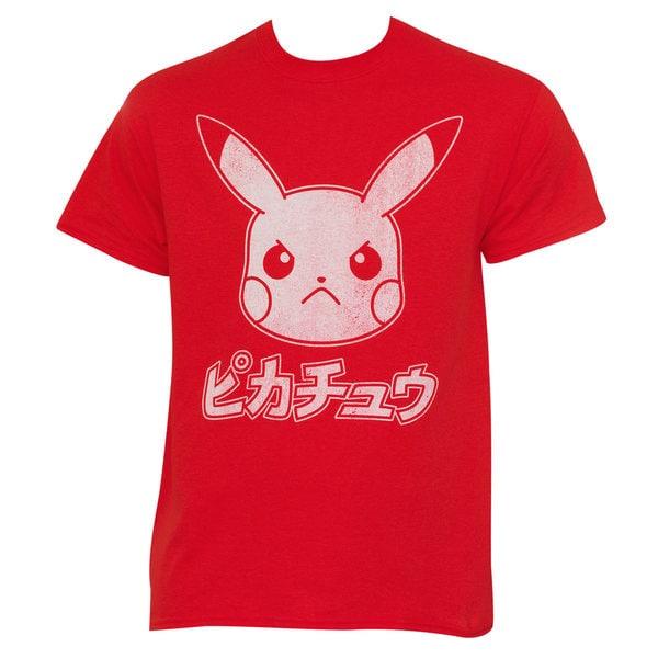 Red Cotton Japanese Pokemon Pikachu T-shirt