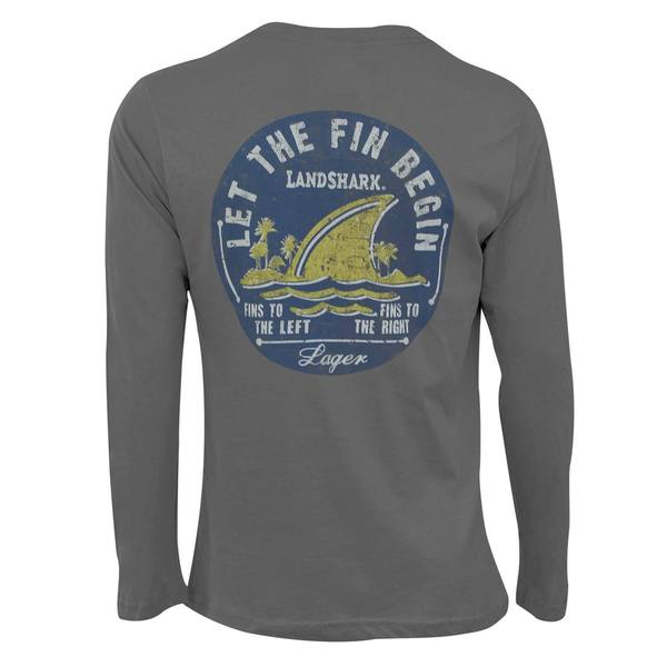 Landshark Let The Fin Begin Grey Cotton Long-sleeved T-shirt