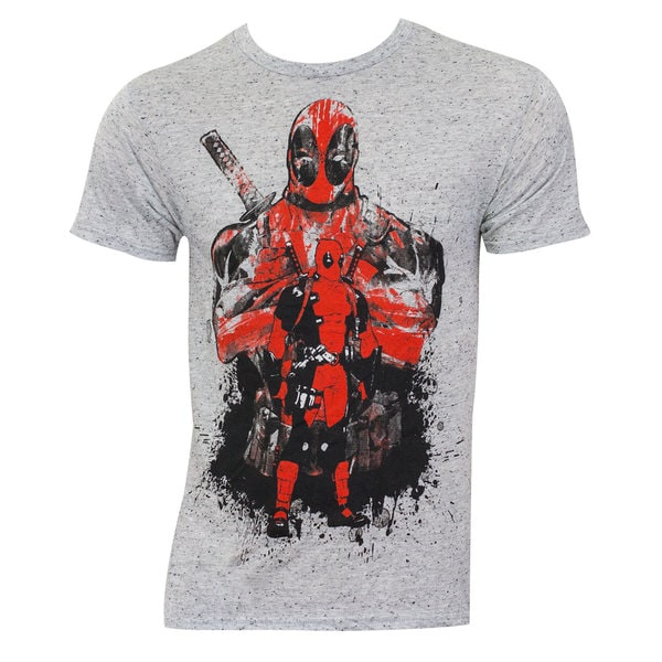 Deadpool Grey Rayon/Polyester Splatter T-shirt
