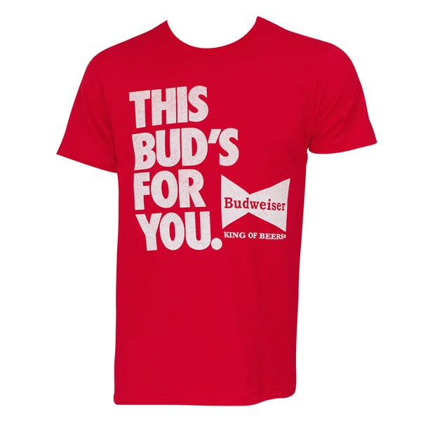 Budweiser 'This Bud's For You' Red Cotton T-shirt