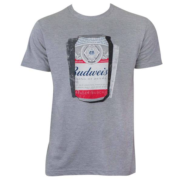 Budweiser Men's Shadow Can Grey Cotton/Polyester T-shirt
