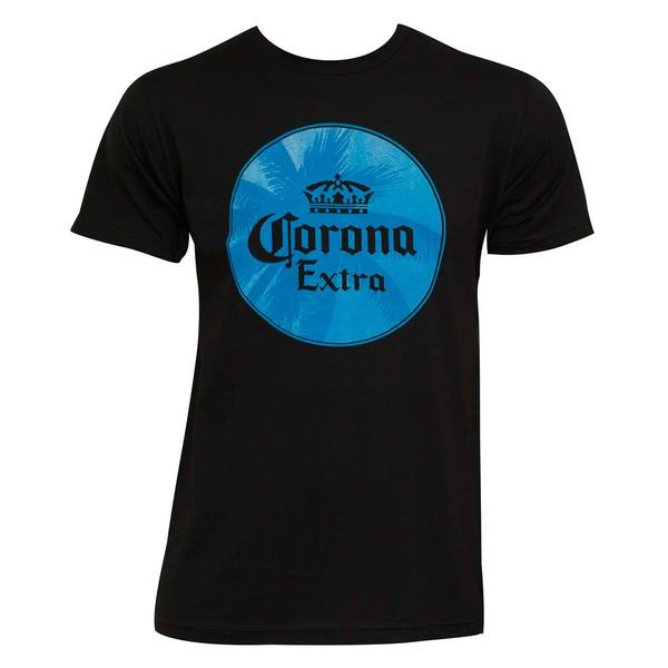Corona Extra Men's Palm Tree Logo Navy Blue/Black Cotton T-shirt