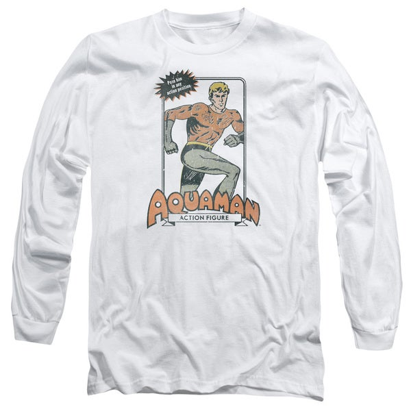 DC/Am Action Figure Long Sleeve Adult T-Shirt 18/1 in White 20714583