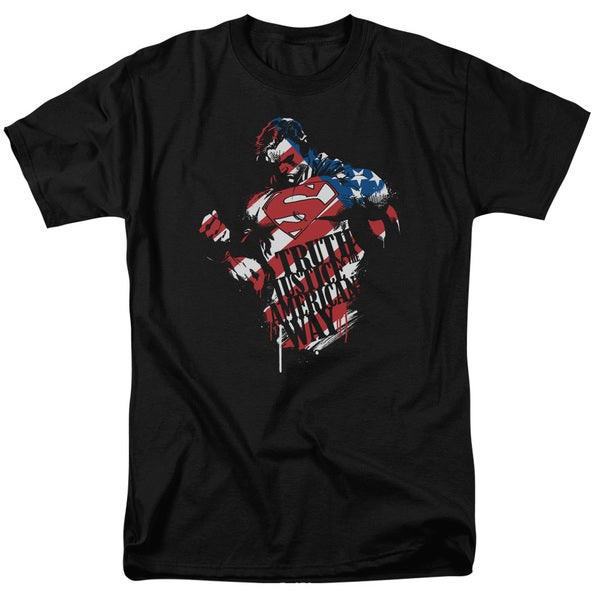 Superman/The American Way Short Sleeve Adult T-Shirt 18/1 in Black