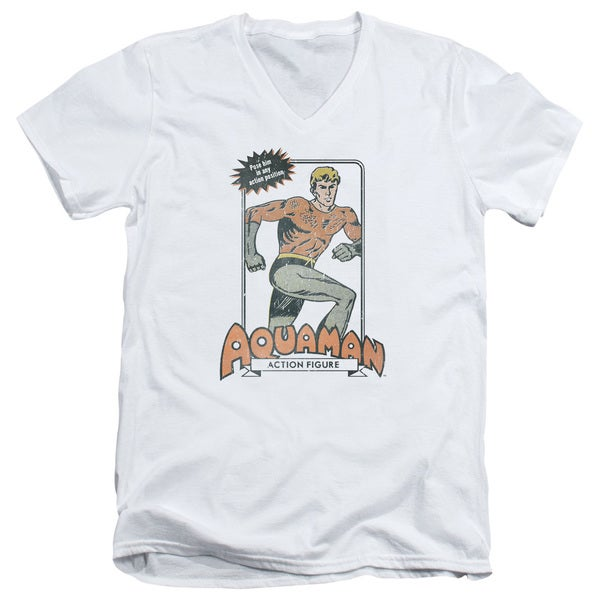 DC/Am Action Figure Short Sleeve Adult T-Shirt V-Neck 30/1 in White 20714606