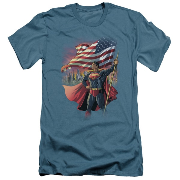 Superman/American Hero Short Sleeve Adult T-Shirt 30/1 in Slate