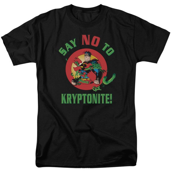 Superman/Say No To Kryptonite Short Sleeve Adult T-Shirt 18/1 in Black