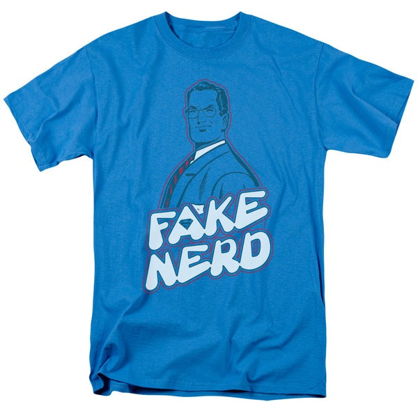 Superman/Fake Nerd Short Sleeve Adult T-Shirt 18/1 in Turquoise