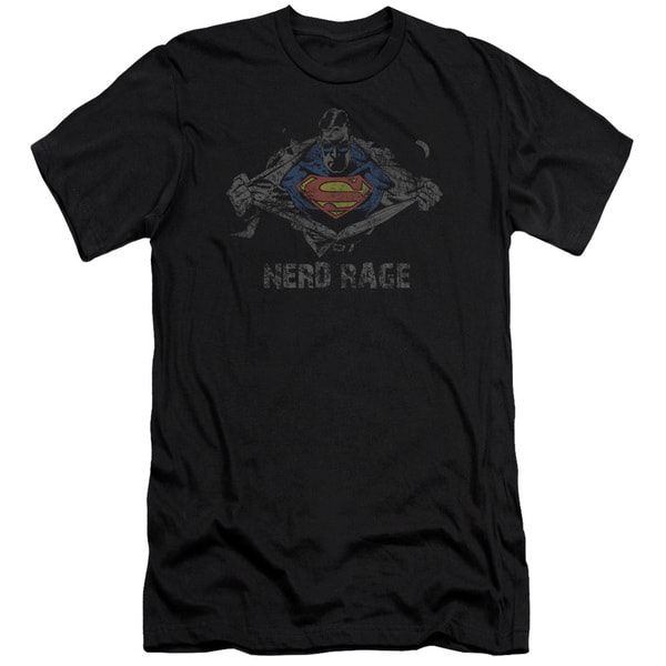 Superman/Nerd Rage Short Sleeve Adult T-Shirt 30/1 in Black