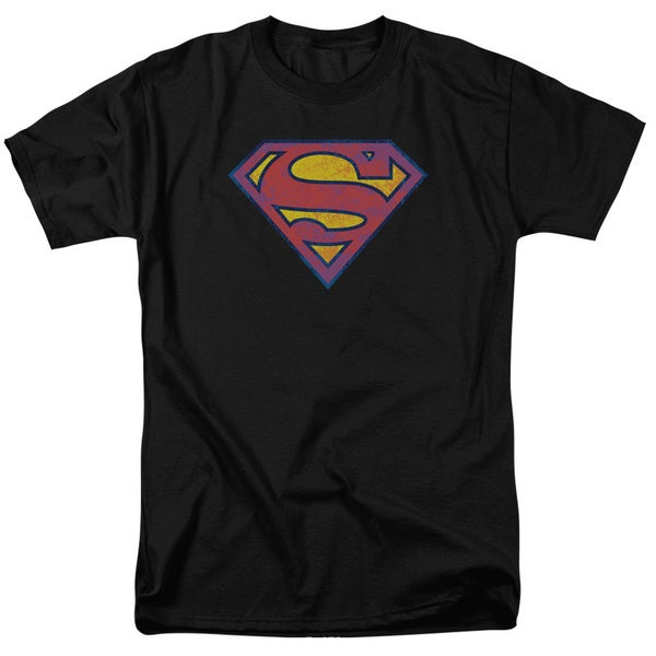 Superman/Sm Neon Distress Logo Short Sleeve Adult T-Shirt 18/1 in Black