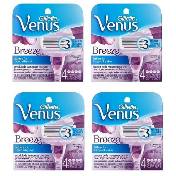 Gillette Venus Breeze 4-count Refill Razor Blade Cartridges (Set of 2 or 4)