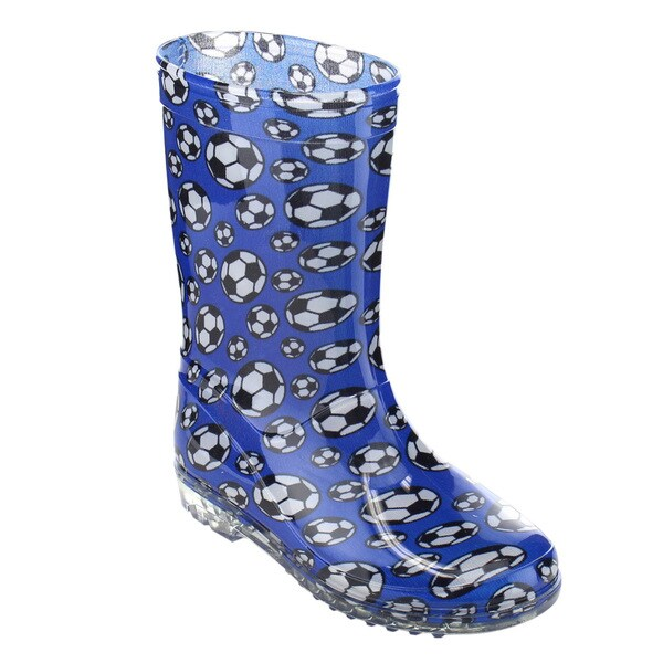 Jelly Beans Boys' GE84 Soccer Print Pull-on Lug Sole Mid-calf Rain Boots