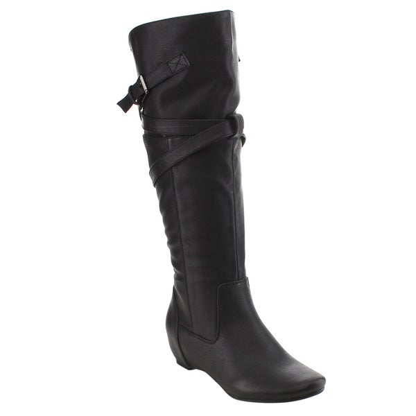 De Blossom Collection GE93 Women's Tan/Black/Brown Faux Leather Buckle Strap Under Knee-high Riding Boots