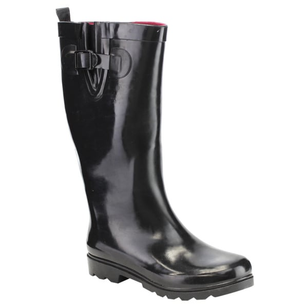 New edition FE19 Women's Glossy Black PVC Knee-high Waterproof Tall Rain Boots