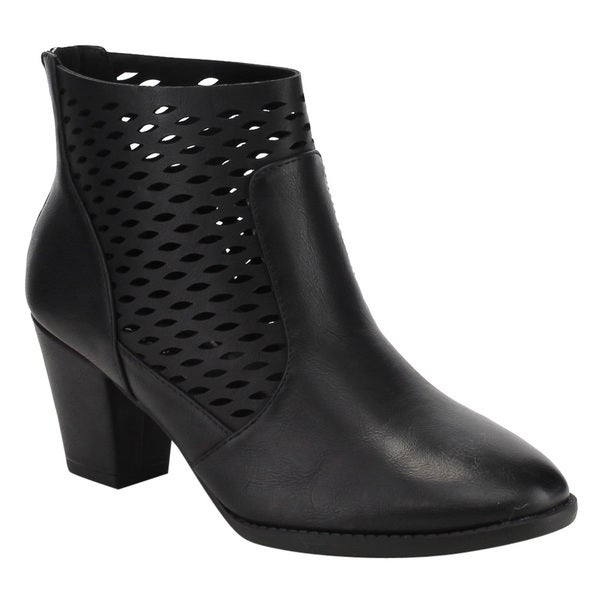 CityClassified Women's Faux-leather Perforated Cut-out Block Heel Ankle Booties
