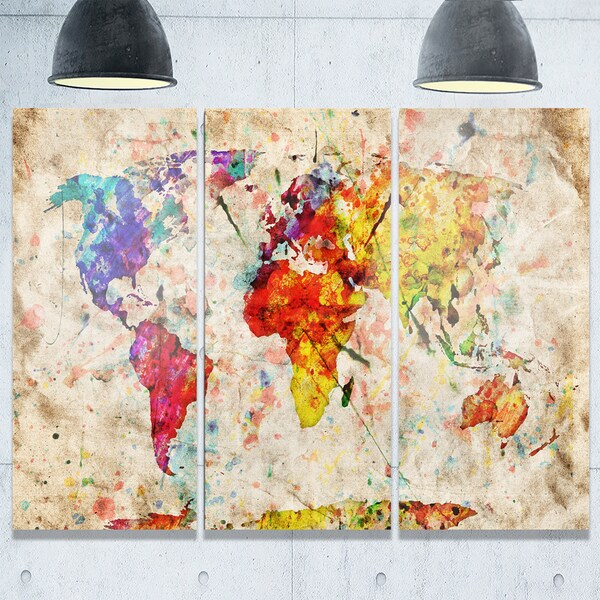 Vintage World Map Watercolor - Maps Painting Glossy Metal Wall Art