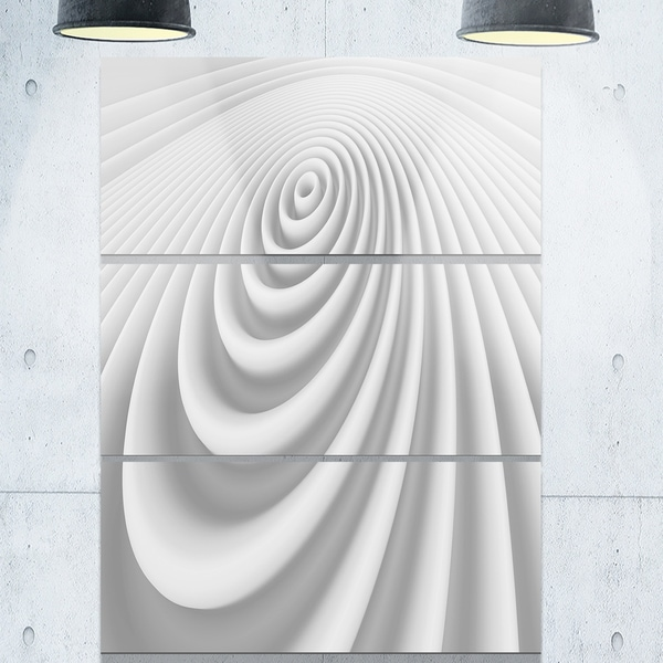Fractal Rounded White 3D Waves - Abstract Art Glossy Metal Wall Art