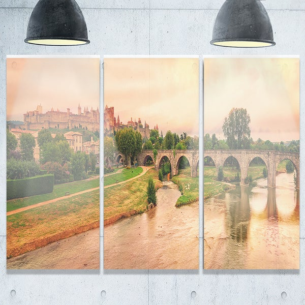 Cite de Carcassonne Panorama - Landscape Glossy Metal Wall Art - 36Wx28H