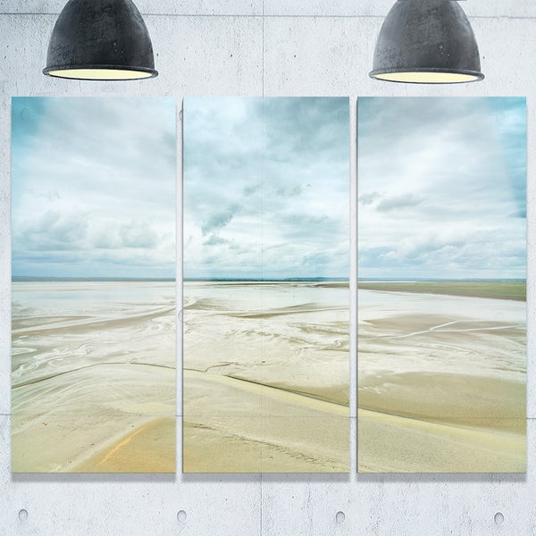 Low Tide in Mont Saint Normandy - Oversized Landscape Glossy Metal Wall Art - 36Wx28H