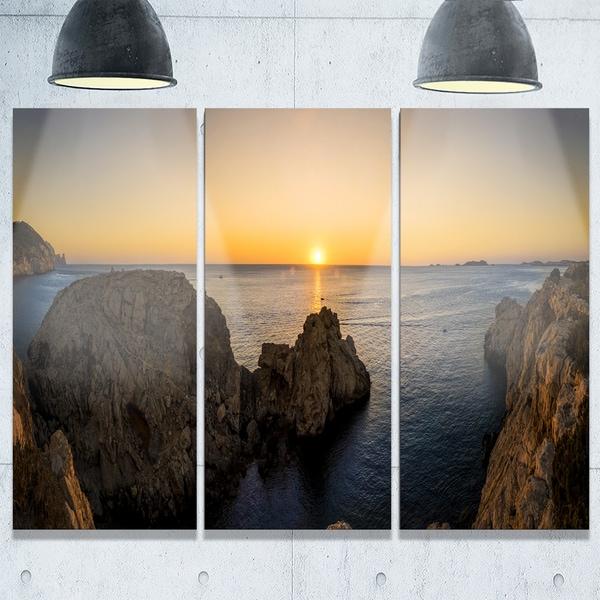 Ibiza Island Mediterranean Sunset - Landscape Glossy Metal Wall Art - 36Wx28H