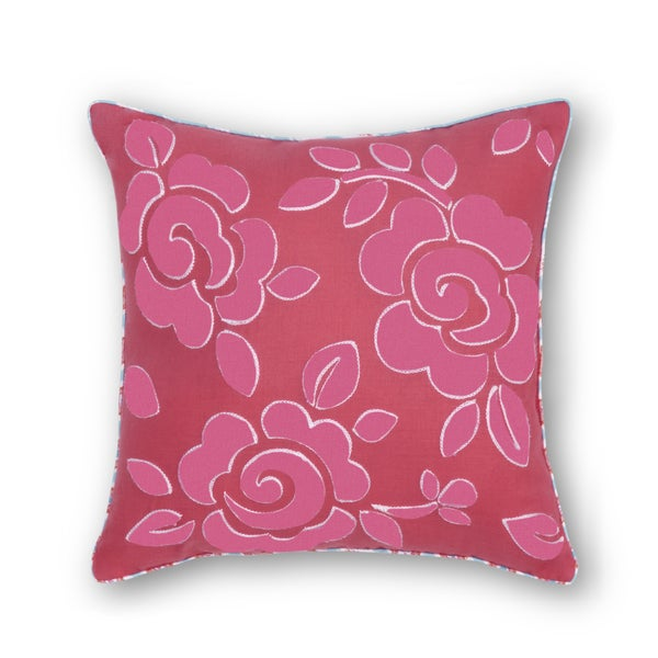 Haute Girls Rosalie Pink Square Embroidered Flower Decorative Pillow 14-inch