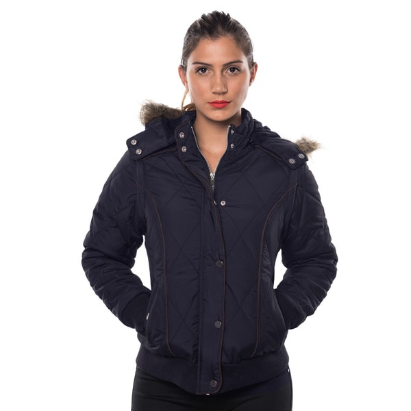 Ladies' Faux-fur Lined Detachable Hood Jacket with Suede-piped Sleeves and 2 Front Pockets