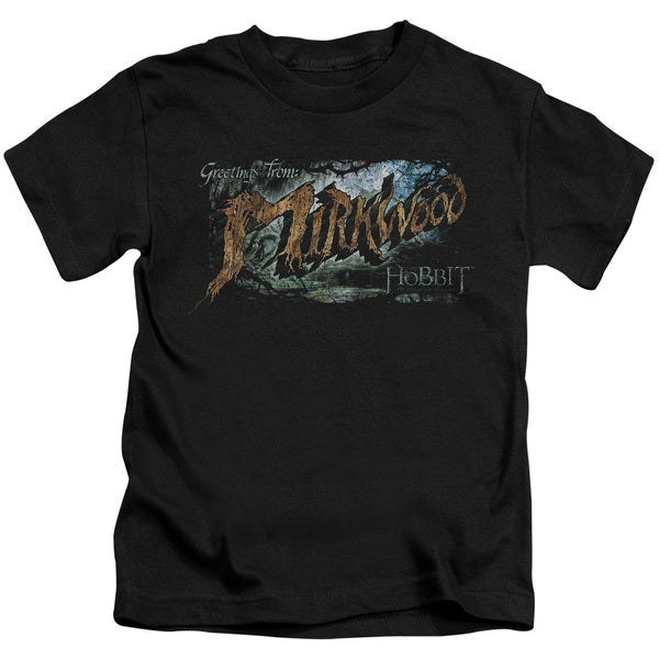 Hobbit/Greetings From Mirkwood Short Sleeve Juvenile Graphic T-Shirt in Black