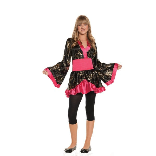 Girls' Black/ Pink Polyester Floral Dress and Satin Sash Shanghai Sweetie Costume