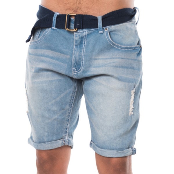 Men's Blue Denim Ripped Belted Cuffed 5-pocket Shorts