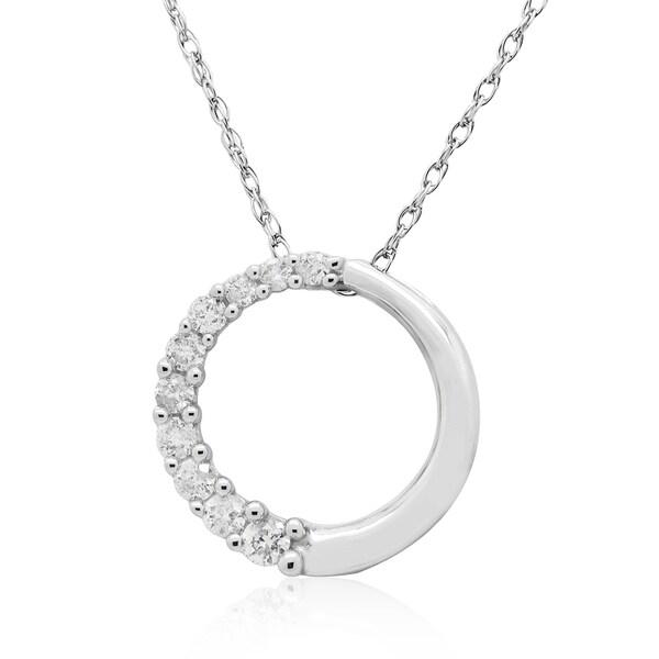 10K White Gold 1/6CT TDW Round Diamond Journey Circle Pendant (H-I, I3)