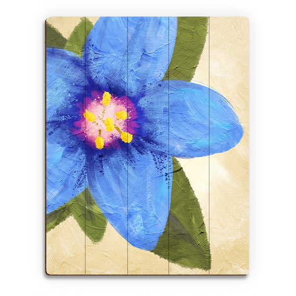 Blue Pimpernel' Birchwood Wall Art