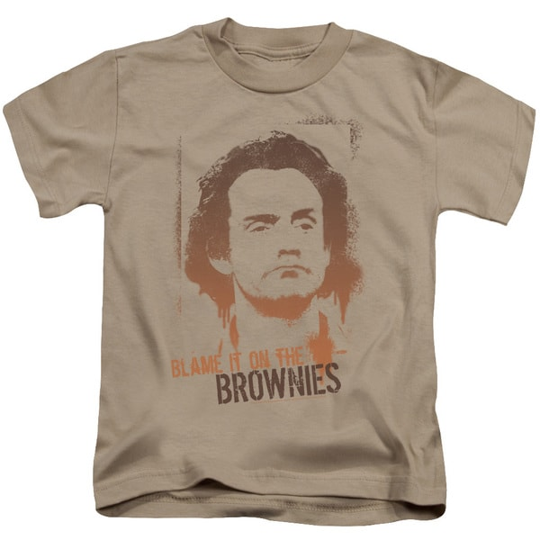 Taxi/Blame It On The Brownies Short Sleeve Juvenile Graphic T-Shirt in Sand