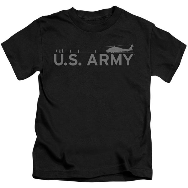 Army/Helicopter Short Sleeve Juvenile Graphic T-Shirt in Black
