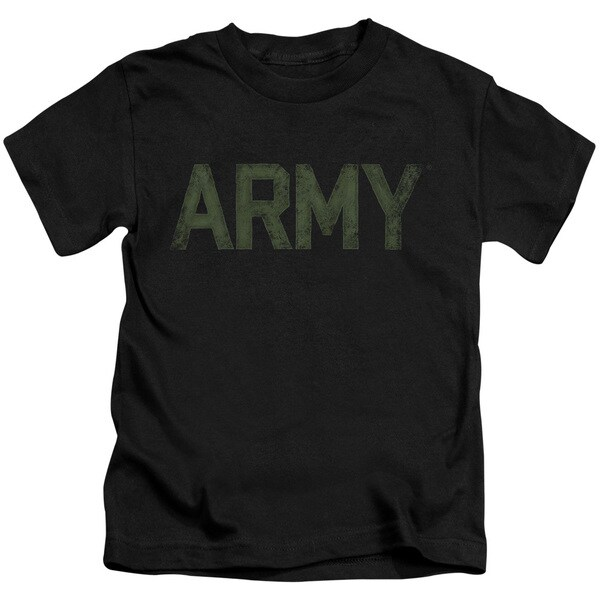 Army/Type Short Sleeve Juvenile Graphic T-Shirt in Black