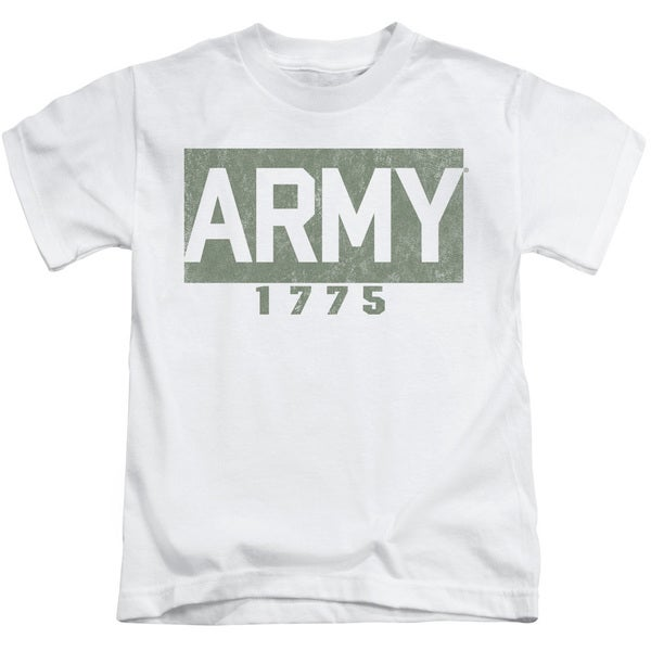 Army/Block Short Sleeve Juvenile Graphic T-Shirt in White