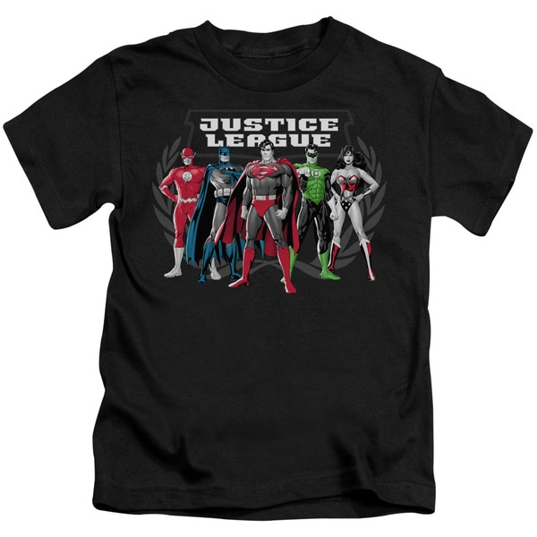 JLA/The Big Five Short Sleeve Juvenile Graphic T-Shirt in Black