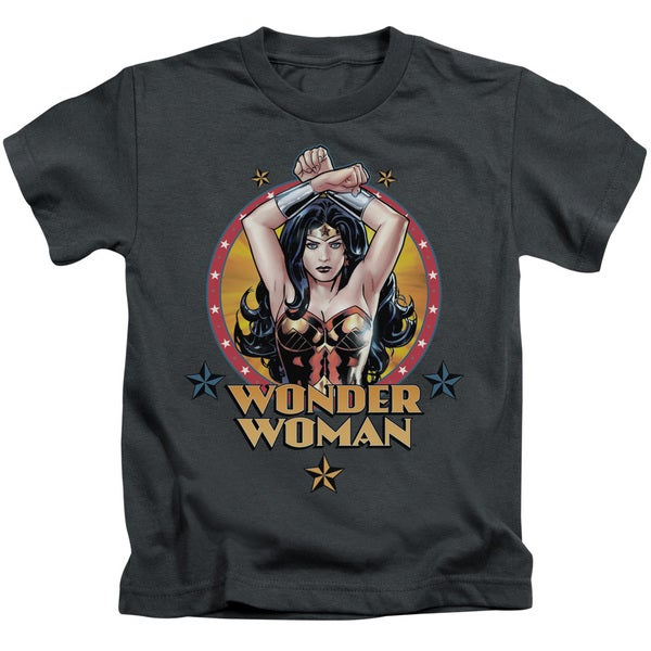 JLA/Powerful Woman Short Sleeve Juvenile Graphic T-Shirt in Charcoal