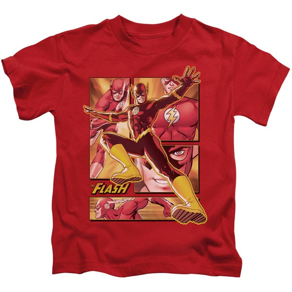 JLA/Flash Short Sleeve Juvenile Graphic T-Shirt in Red